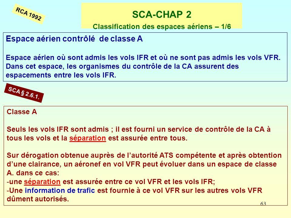 63 SCA-CHAP 2 Classification des espaces aériens – 1/6 Espace aérien contrôlé de classe A Espace aérien où sont admis les vols IFR et où ne sont pas a