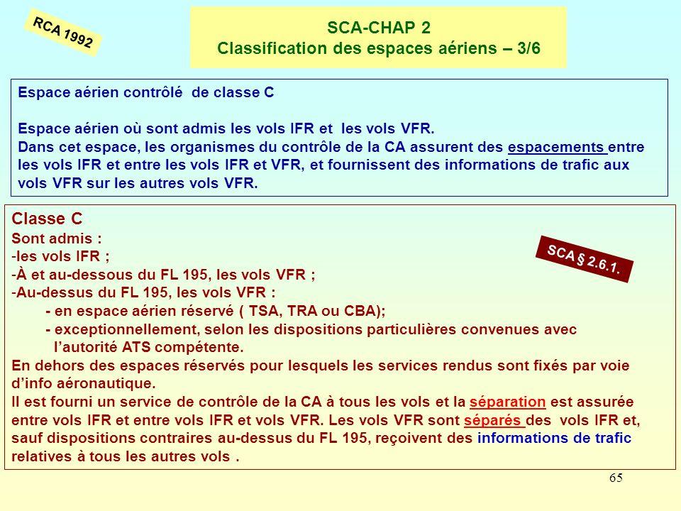 65 SCA-CHAP 2 Classification des espaces aériens – 3/6 Espace aérien contrôlé de classe C Espace aérien où sont admis les vols IFR et les vols VFR. Da