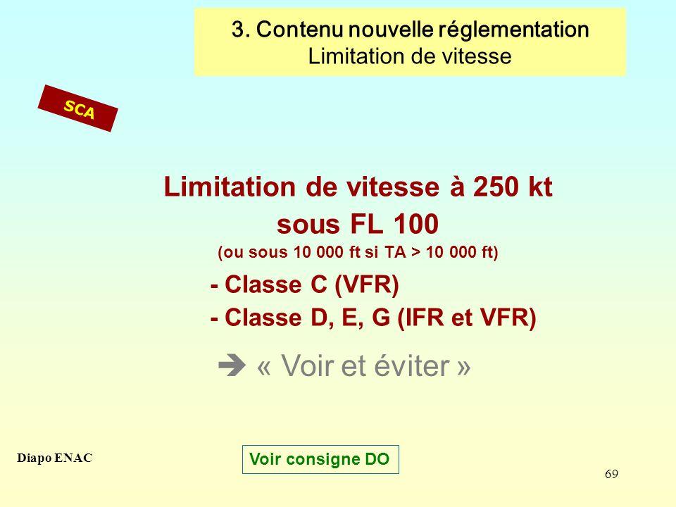 69 Limitation de vitesse à 250 kt sous FL 100 (ou sous 10 000 ft si TA > 10 000 ft) - Classe C (VFR) - Classe D, E, G (IFR et VFR) SCA « Voir et évite
