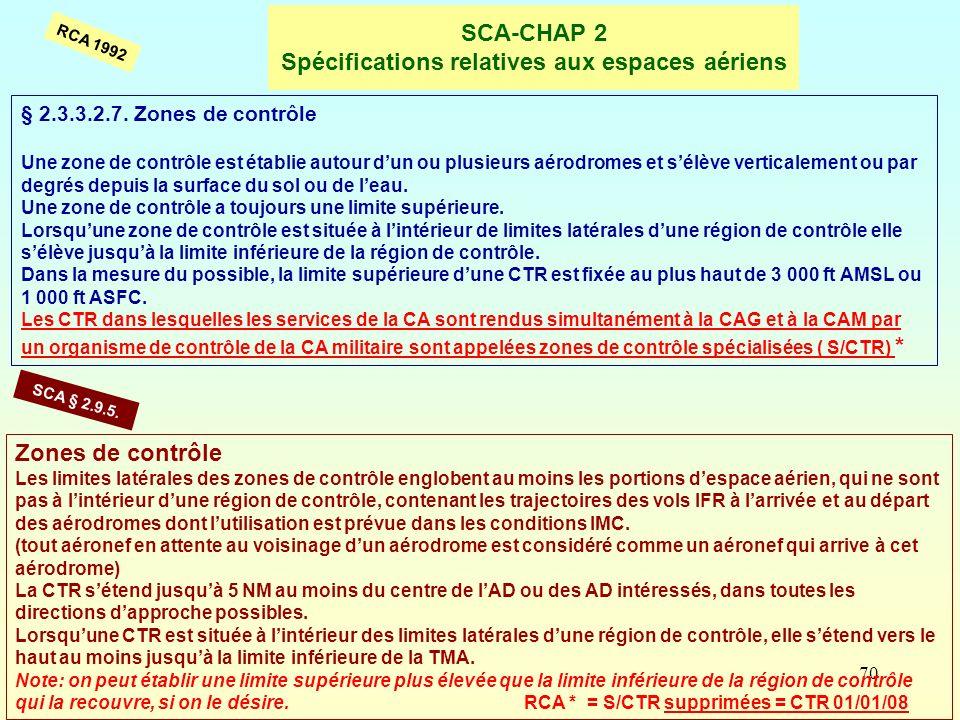 70 SCA-CHAP 2 Spécifications relatives aux espaces aériens § 2.3.3.2.7. Zones de contrôle Une zone de contrôle est établie autour dun ou plusieurs aér
