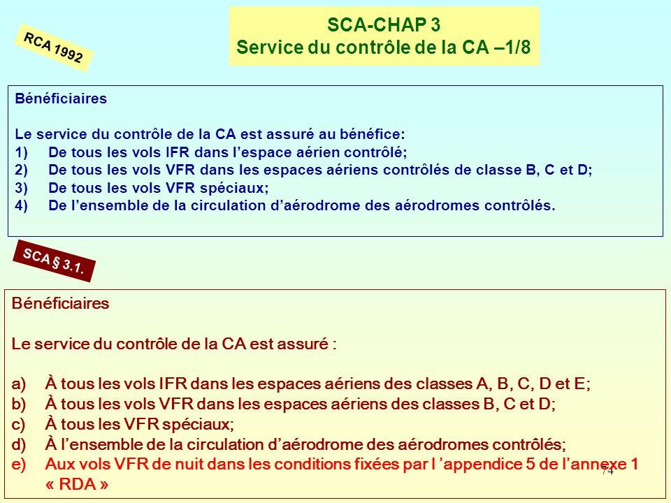 74 SCA-CHAP 3 Service du contrôle de la CA –1/8 RCA 1992 SCA § 3.1. Bénéficiaires Le service du contrôle de la CA est assuré : a)À tous les vols IFR d