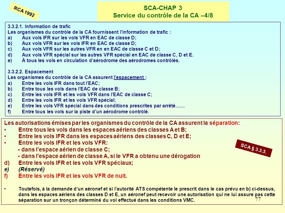 77 SCA-CHAP 3 Service du contrôle de la CA –4/8 RCA 1992 Les autorisations émises par les organismes du contrôle de la CA assurent la séparation: Entr