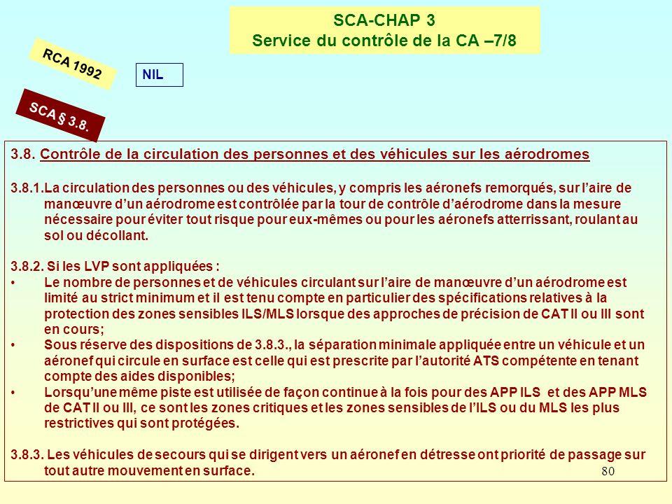 80 SCA-CHAP 3 Service du contrôle de la CA –7/8 RCA 1992 3.8. Contrôle de la circulation des personnes et des véhicules sur les aérodromes 3.8.1.La ci