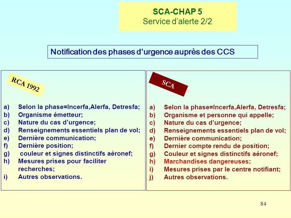 84 SCA-CHAP 5 Service dalerte 2/2 RCA 1992 SCA Notification des phases durgence auprès des CCS a)Selon la phase=Incerfa,Alerfa, Detresfa; b)Organisme