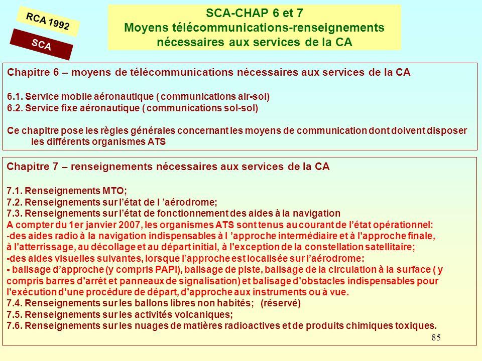 85 SCA-CHAP 6 et 7 Moyens télécommunications-renseignements nécessaires aux services de la CA RCA 1992 Chapitre 6 – moyens de télécommunications néces