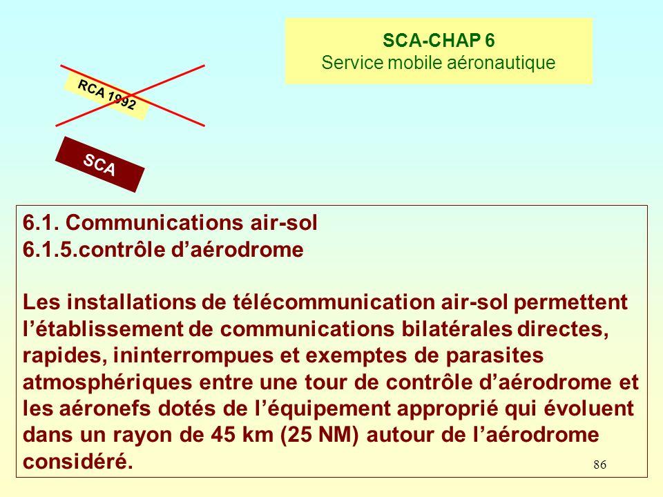 86 SCA-CHAP 6 Service mobile aéronautique RCA 1992 6.1. Communications air-sol 6.1.5.contrôle daérodrome Les installations de télécommunication air-so