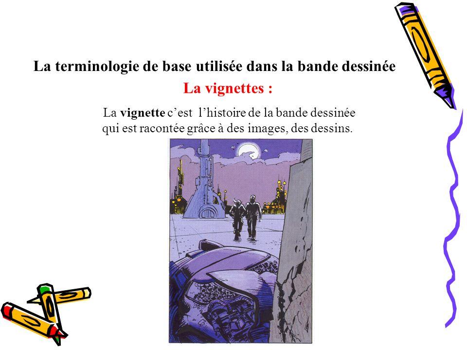 La terminologie de base utilisée dans la bande dessinée La vignettes : La vignette cest lhistoire de la bande dessinée qui est racontée grâce à des im