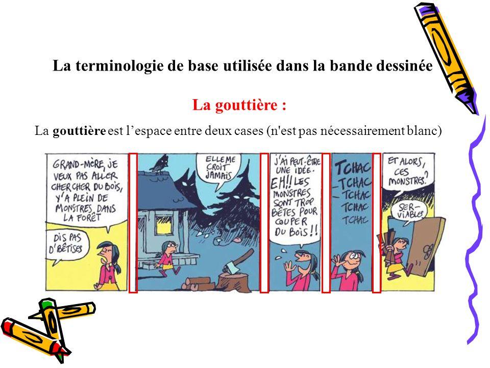 La terminologie de base utilisée dans la bande dessinée La gouttière : La gouttière est lespace entre deux cases (n'est pas nécessairement blanc)