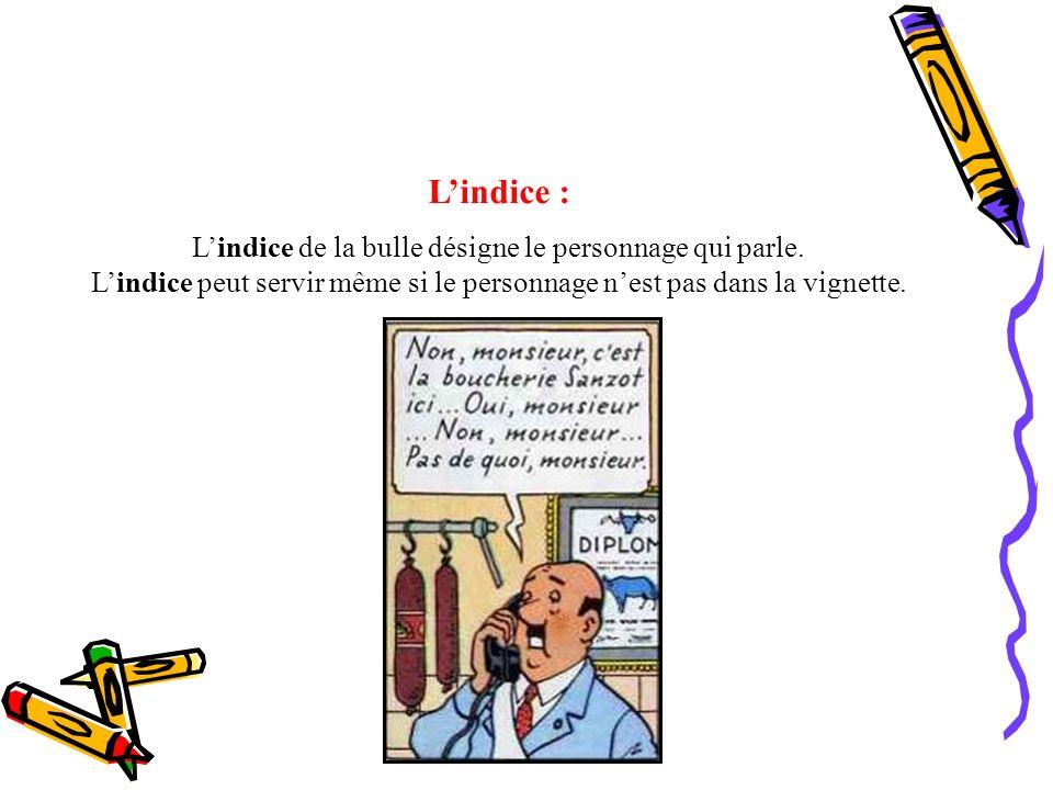 Lindice : Lindice de la bulle désigne le personnage qui parle. Lindice peut servir même si le personnage nest pas dans la vignette.