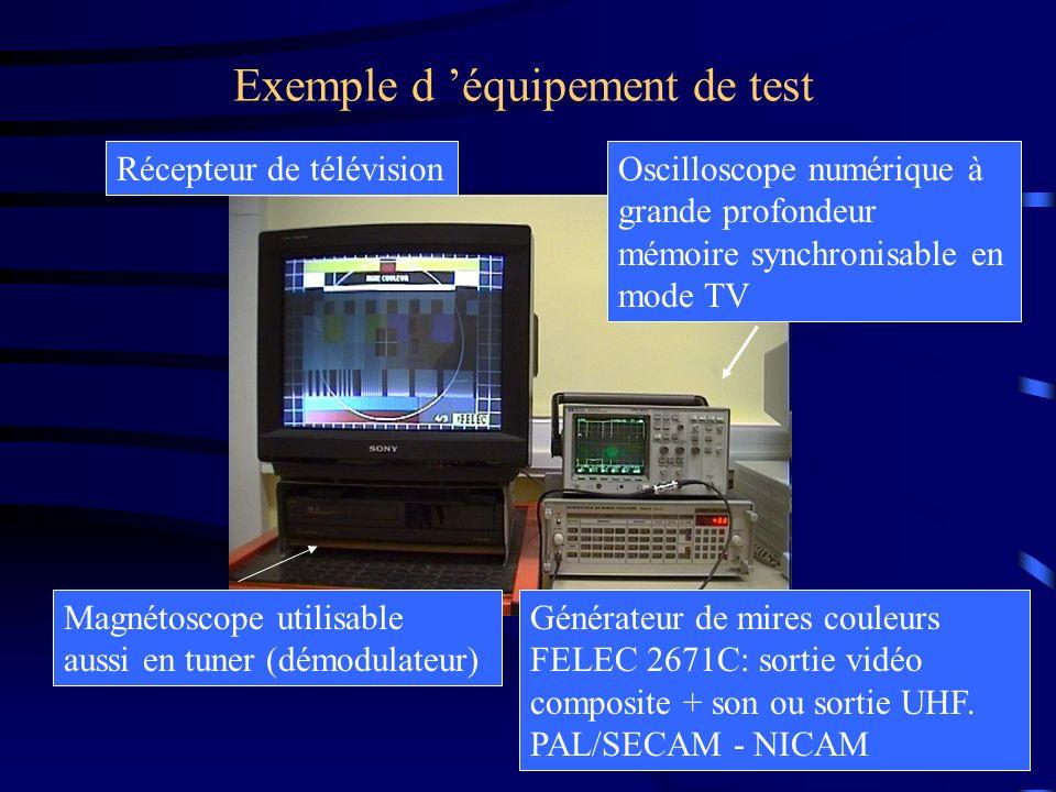 Exemple d équipement de test Générateur de mires couleurs FELEC 2671C: sortie vidéo composite + son ou sortie UHF. PAL/SECAM - NICAM Oscilloscope numé