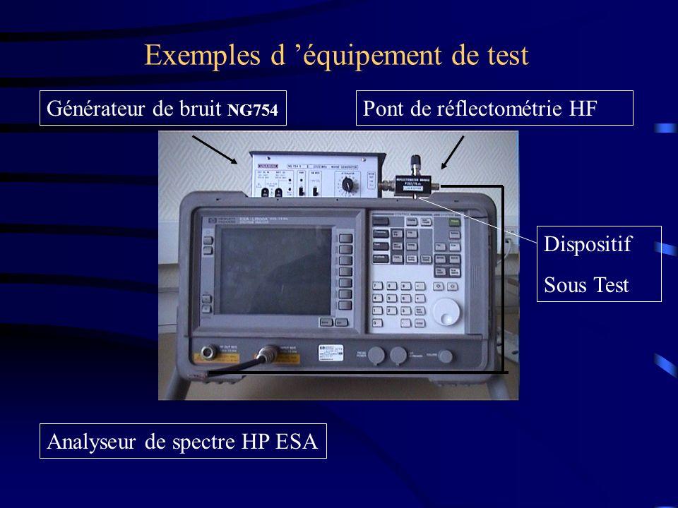 Exemples d équipement de test Pont de réflectométrie HFGénérateur de bruit NG754 Analyseur de spectre HP ESA Dispositif Sous Test