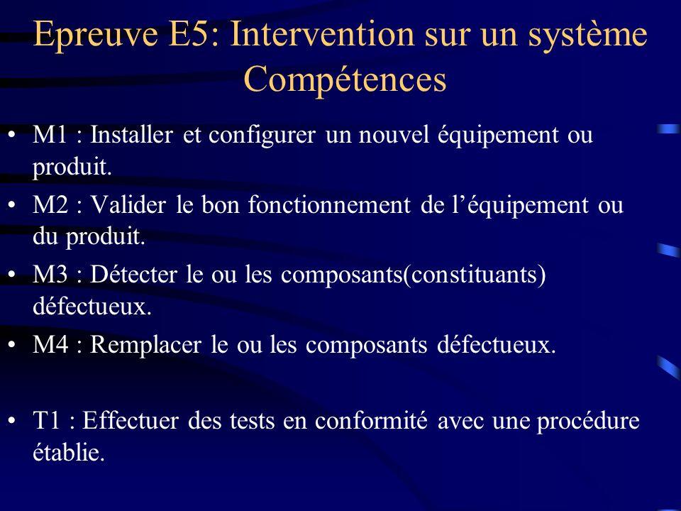 M1 : Installer et configurer un nouvel équipement ou produit. M2 : Valider le bon fonctionnement de léquipement ou du produit. M3 : Détecter le ou les