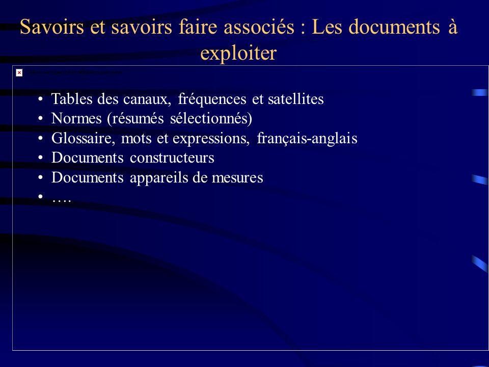 Savoirs et savoirs faire associés : Les documents à exploiter Tables des canaux, fréquences et satellites Normes (résumés sélectionnés) Glossaire, mot