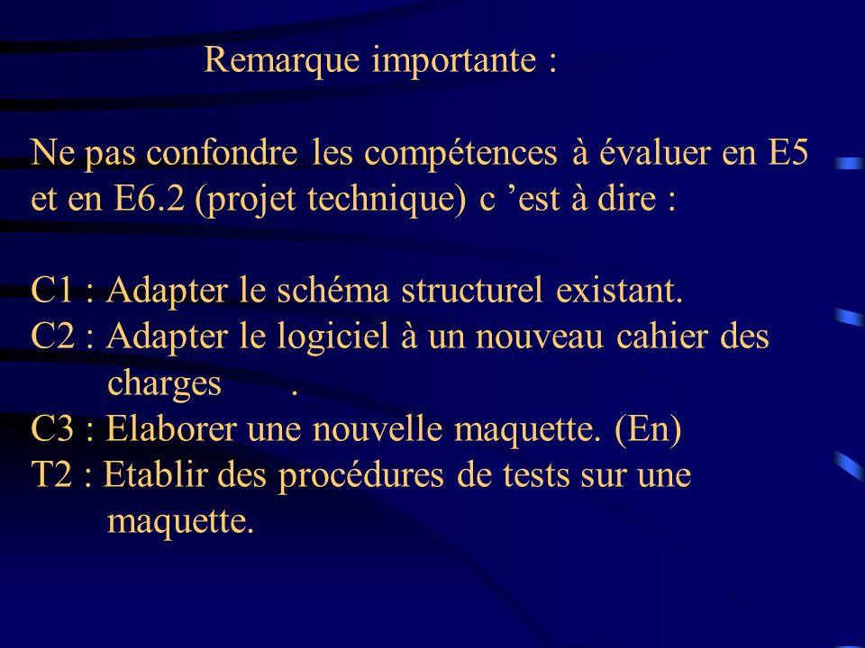 Remarque importante : Ne pas confondre les compétences à évaluer en E5 et en E6.2 (projet technique) c est à dire : C1 : Adapter le schéma structurel