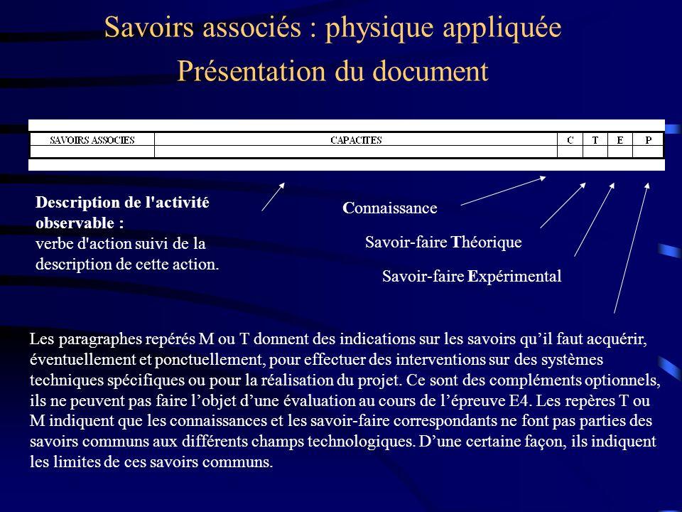 Savoirs associés : physique appliquée Présentation du document Les paragraphes repérés M ou T donnent des indications sur les savoirs quil faut acquér
