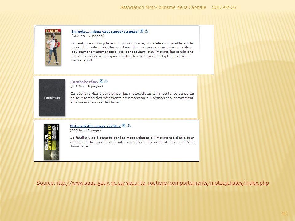 20 2013-05-02Association Moto-Tourisme de la Capitale Source:http://www.saaq.gouv.qc.ca/securite_routiere/comportements/motocyclistes/index.php