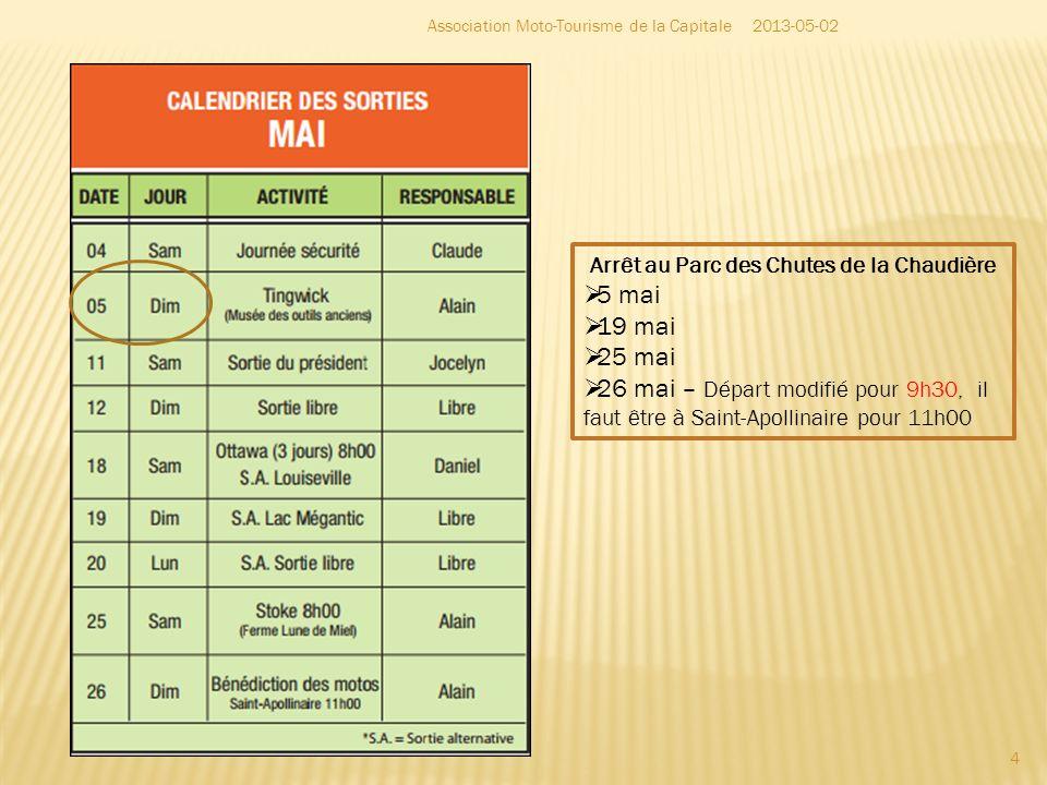 Arrêt au Parc des Chutes de la Chaudière 5 mai 19 mai 25 mai 26 mai – Départ modifié pour 9h30, il faut être à Saint-Apollinaire pour 11h00 4 2013-05-