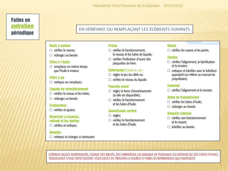 Synthèse du rapport du comité moto – novembre 2012 18 2013-05-02Association Moto-Tourisme de la Capitale http://www.saaq.gouv.qc.ca/documents/documents_pdf/prevention/rapport_comite_moto.php
