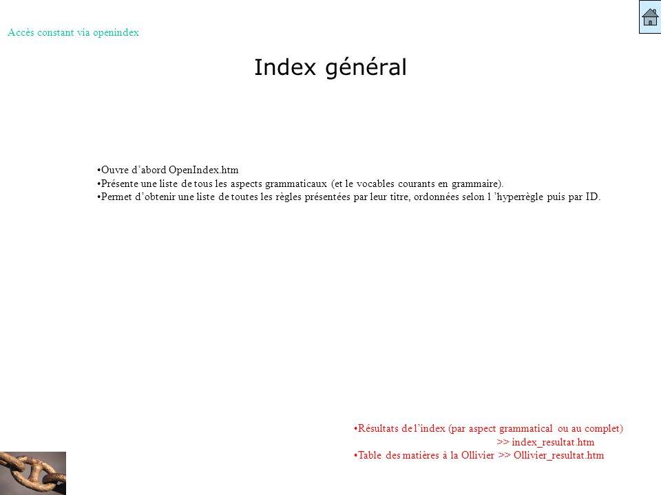 Index général Accès constant via openindex Résultats de lindex (par aspect grammatical ou au complet) >> index_resultat.htm Table des matières à la Ol