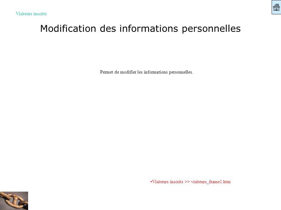 Modification des informations personnelles Visiteurs inscrits Visiteurs inscrits >> visiteurs_frame1.htm Permet de modifier les informations personnel