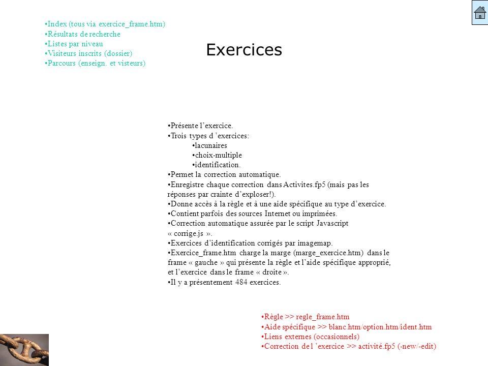 Exercices Règle >> regle_frame.htm Aide spécifique >> blanc.htm/option.htm/ident.htm Liens externes (occasionnels) Correction de l exercice >> activit