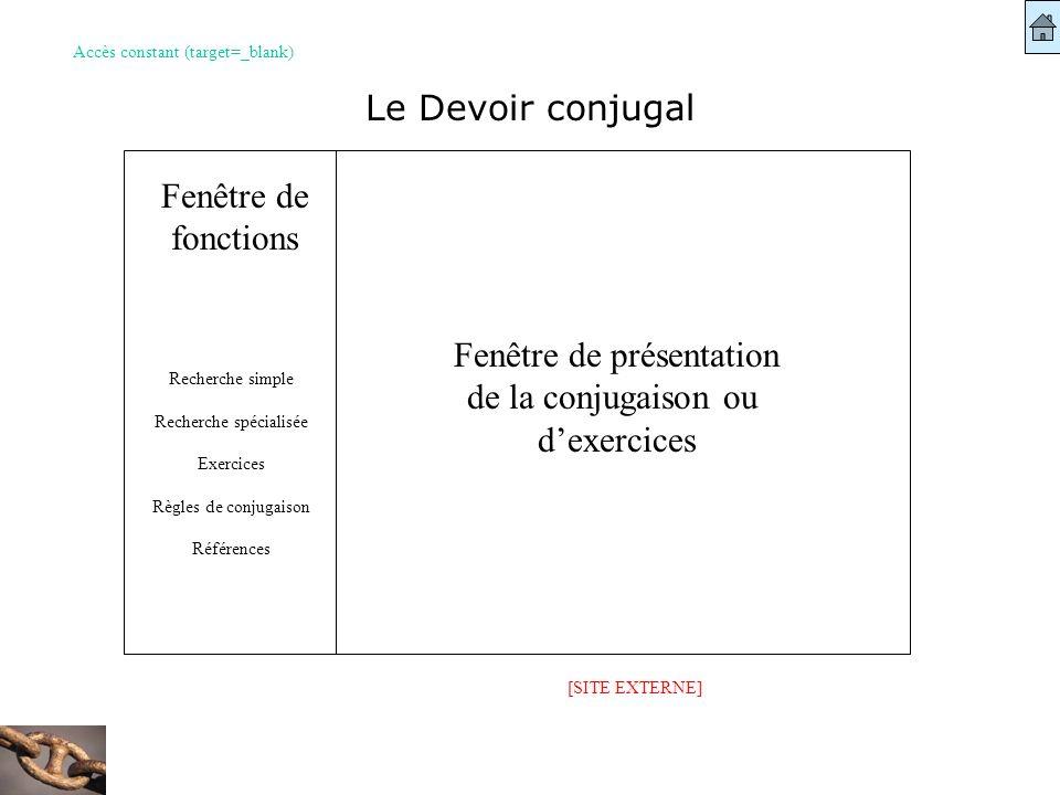 Fenêtre de présentation de la conjugaison ou dexercices Fenêtre de fonctions Recherche simple Recherche spécialisée Exercices Règles de conjugaison Ré