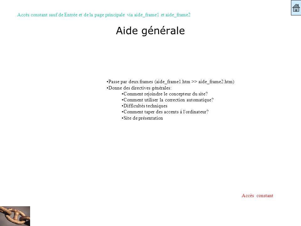 Aide générale Passe par deux frames (aide_frame1.htm >> aide_frame2.htm) Donne des directives générales: Comment rejoindre le concepteur du site? Comm