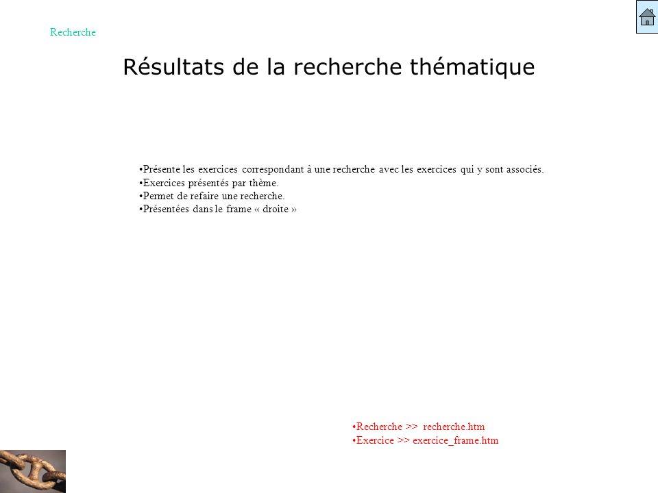 Résultats de la recherche thématique Recherche Recherche >> recherche.htm Exercice >> exercice_frame.htm Présente les exercices correspondant à une re