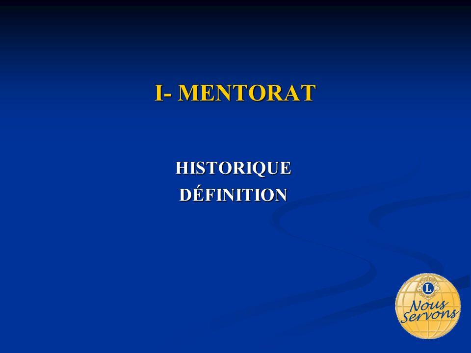 I- MENTORAT HISTORIQUEDÉFINITION