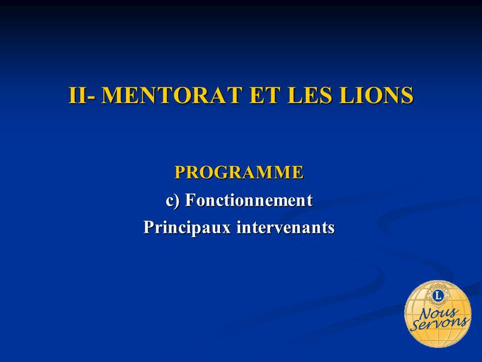 II- MENTORAT ET LES LIONS PROGRAMME c) Fonctionnement Principaux intervenants