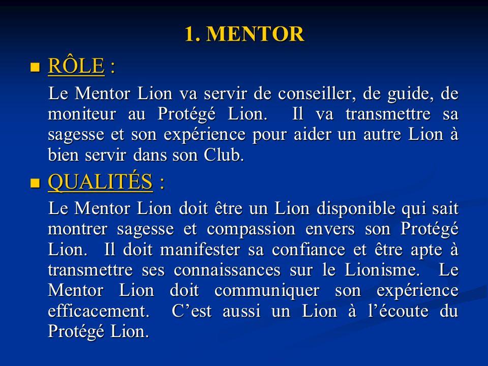1. MENTOR RÔLE : RÔLE : Le Mentor Lion va servir de conseiller, de guide, de moniteur au Protégé Lion. Il va transmettre sa sagesse et son expérience