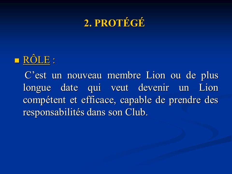 2. PROTÉGÉ RÔLE : RÔLE : Cest un nouveau membre Lion ou de plus longue date qui veut devenir un Lion compétent et efficace, capable de prendre des res