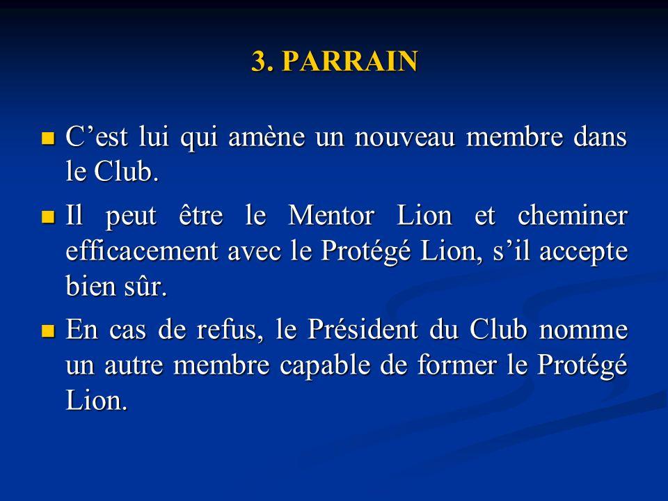 3.PARRAIN Cest lui qui amène un nouveau membre dans le Club.