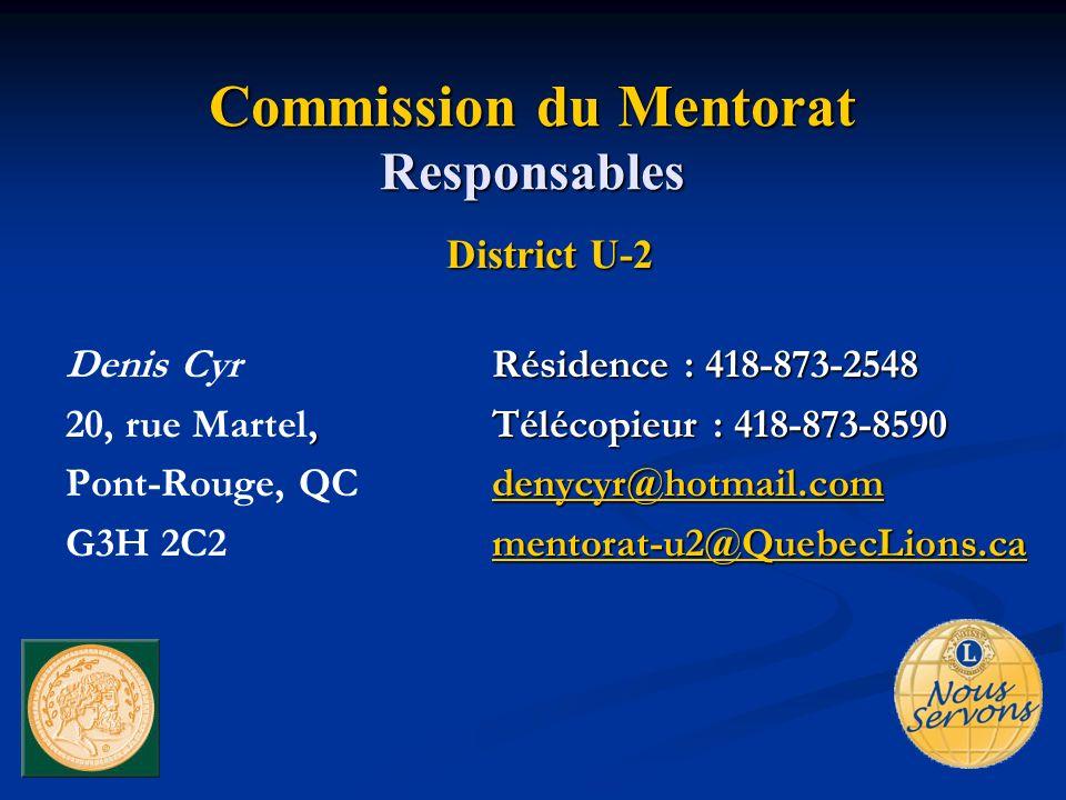 Commission du Mentorat Responsables District U-2 Résidence : 418-873-2548 Denis CyrRésidence : 418-873-2548, Télécopieur : 418-873-8590 20, rue Martel, Télécopieur : 418-873-8590 denycyr@hotmail.com Pont-Rouge, QC denycyr@hotmail.comdenycyr@hotmail.com mentorat-u2@QuebecLions.ca G3H 2C2 mentorat-u2@QuebecLions.ca