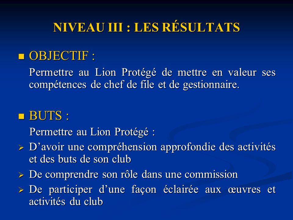 NIVEAU III : LES RÉSULTATS OBJECTIF : OBJECTIF : Permettre au Lion Protégé de mettre en valeur ses compétences de chef de file et de gestionnaire.