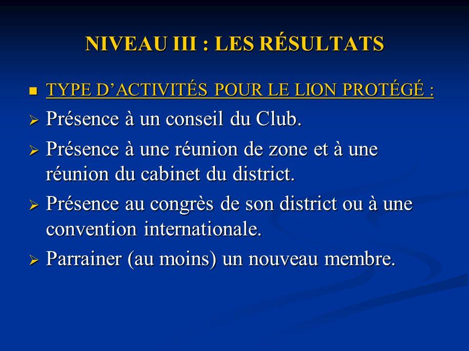 NIVEAU III : LES RÉSULTATS TYPE DACTIVITÉS POUR LE LION PROTÉGÉ : TYPE DACTIVITÉS POUR LE LION PROTÉGÉ : Présence à un conseil du Club.