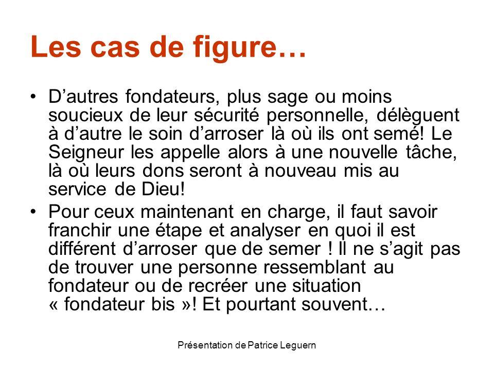 Présentation de Patrice Leguern Les cas de figure… Dautres fondateurs, plus sage ou moins soucieux de leur sécurité personnelle, délèguent à dautre le
