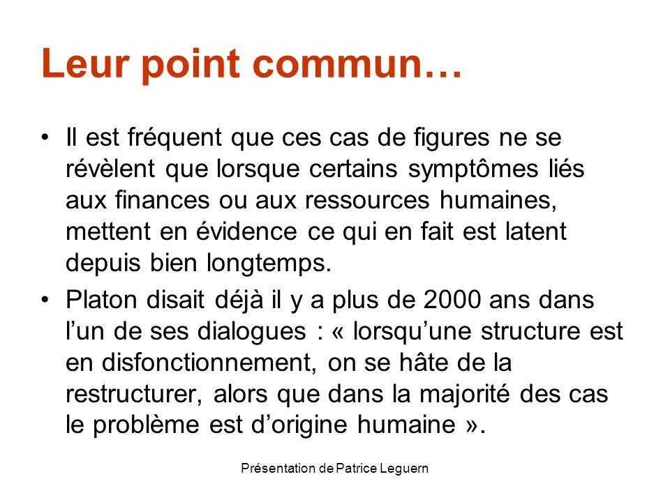 Présentation de Patrice Leguern Leur point commun… Il est fréquent que ces cas de figures ne se révèlent que lorsque certains symptômes liés aux finan