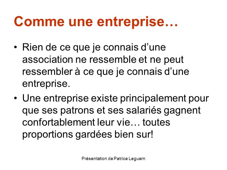 Présentation de Patrice Leguern Comme une entreprise… Rien de ce que je connais dune association ne ressemble et ne peut ressembler à ce que je connai