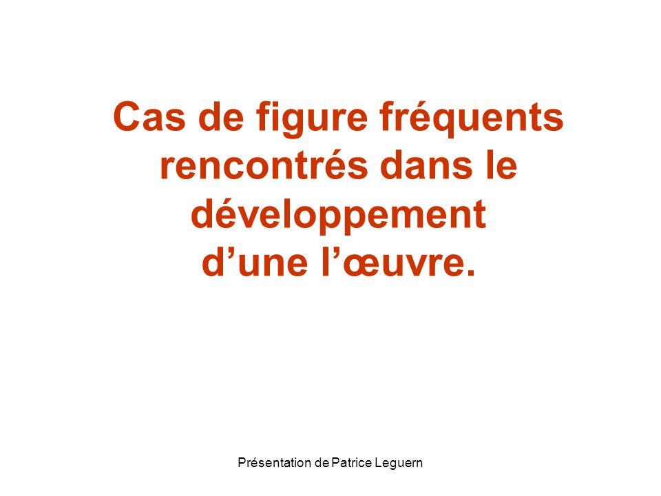 Présentation de Patrice Leguern Cas de figure fréquents rencontrés dans le développement dune lœuvre.