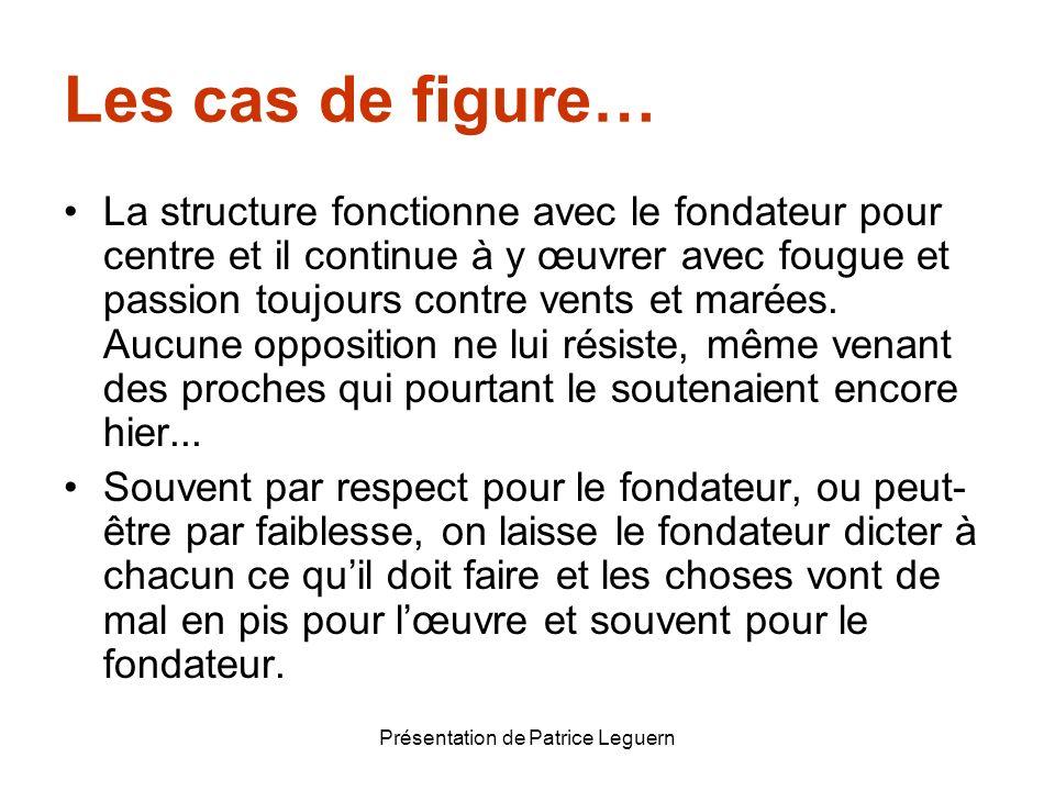 Présentation de Patrice Leguern Les cas de figure… La structure fonctionne avec le fondateur pour centre et il continue à y œuvrer avec fougue et pass