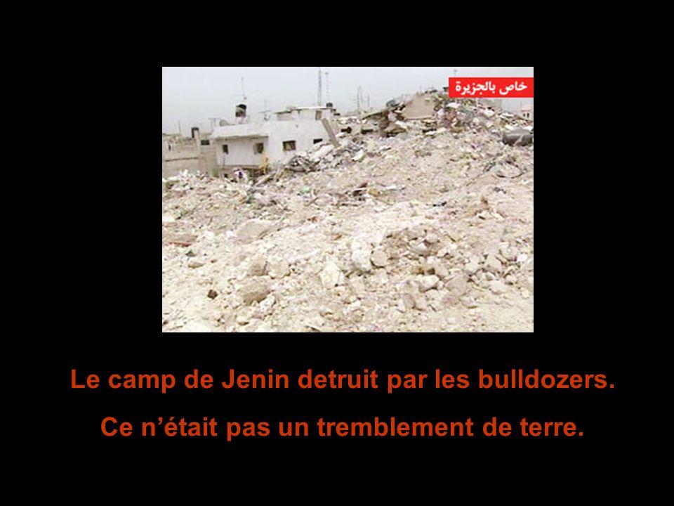 Le camp de Jenin detruit par les bulldozers. Ce nétait pas un tremblement de terre.