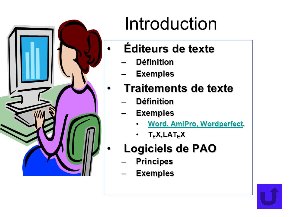 Introduction Éditeurs de texteÉditeurs de texte –Définition –Exemples Traitements de texteTraitements de texte –Définition –Exemples Word, AmiPro, Wordperfect.Word, AmiPro, Wordperfect.Word, AmiPro, WordperfectWord, AmiPro, Wordperfect T E X,LAT E XT E X,LAT E X Logiciels de PAOLogiciels de PAO –Principes –Exemples
