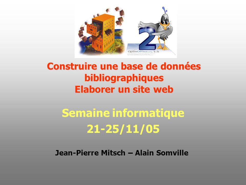 Construire une base de données bibliographiques Elaborer un site web Semaine informatique 21-25/11/05 Jean-Pierre Mitsch – Alain Somville