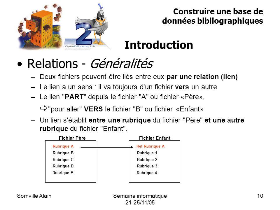 Somville AlainSemaine informatique 21-25/11/05 10 Relations - Généralités –Deux fichiers peuvent être liés entre eux par une relation (lien) –Le lien a un sens : il va toujours d un fichier vers un autre –Le lien PART depuis le fichier A ou fichier «Père», pour aller VERS le fichier B ou fichier «Enfant» –Un lien s établit entre une rubrique du fichier Père et une autre rubrique du fichier Enfant .