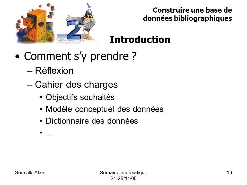 Somville AlainSemaine informatique 21-25/11/05 13 Comment sy prendre .