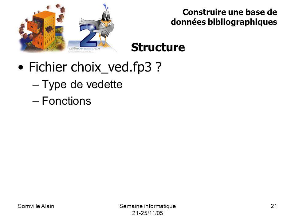 Somville AlainSemaine informatique 21-25/11/05 21 Fichier choix_ved.fp3 .