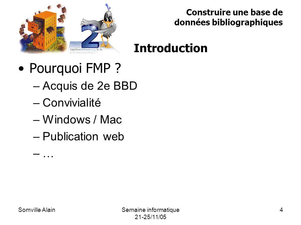 Somville AlainSemaine informatique 21-25/11/05 4 Pourquoi FMP .