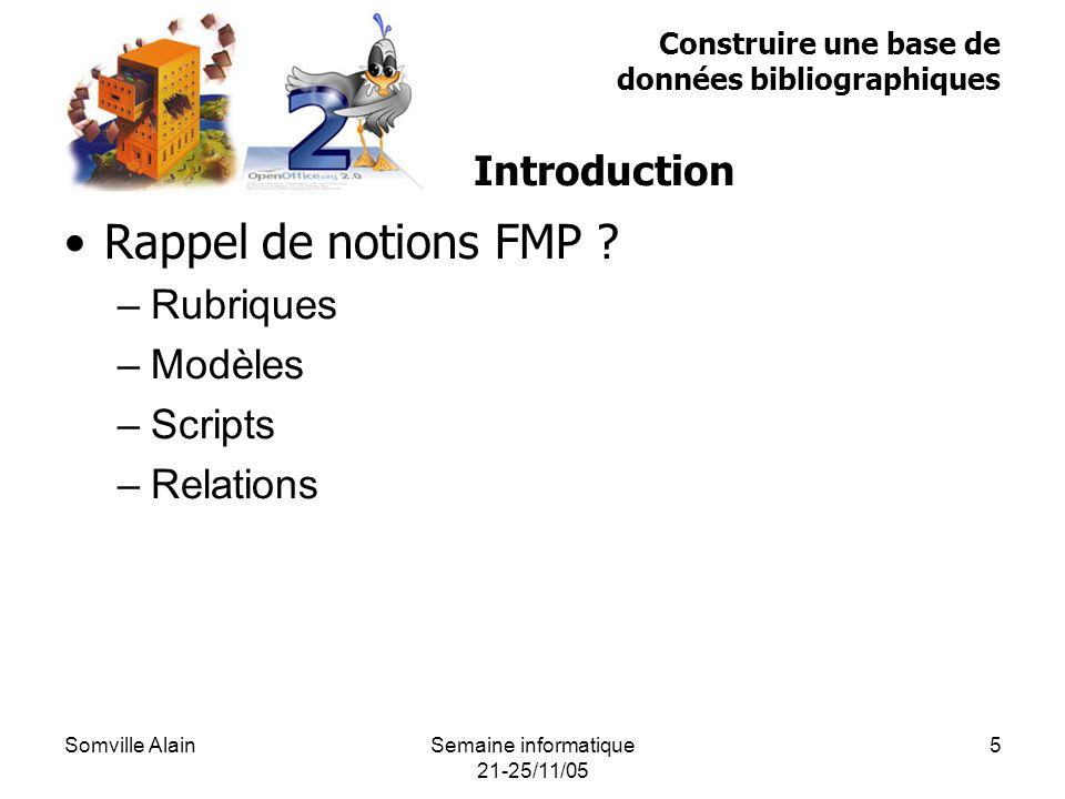 Somville AlainSemaine informatique 21-25/11/05 5 Rappel de notions FMP .