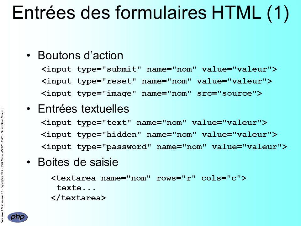 Formation à PHP version 2.1 - Copyright© 1999 - 2003 Pascal AUBRY - IFSIC - Université de Rennes 1 Entrées des formulaires HTML (1) Boutons daction Entrées textuelles Boites de saisie texte...